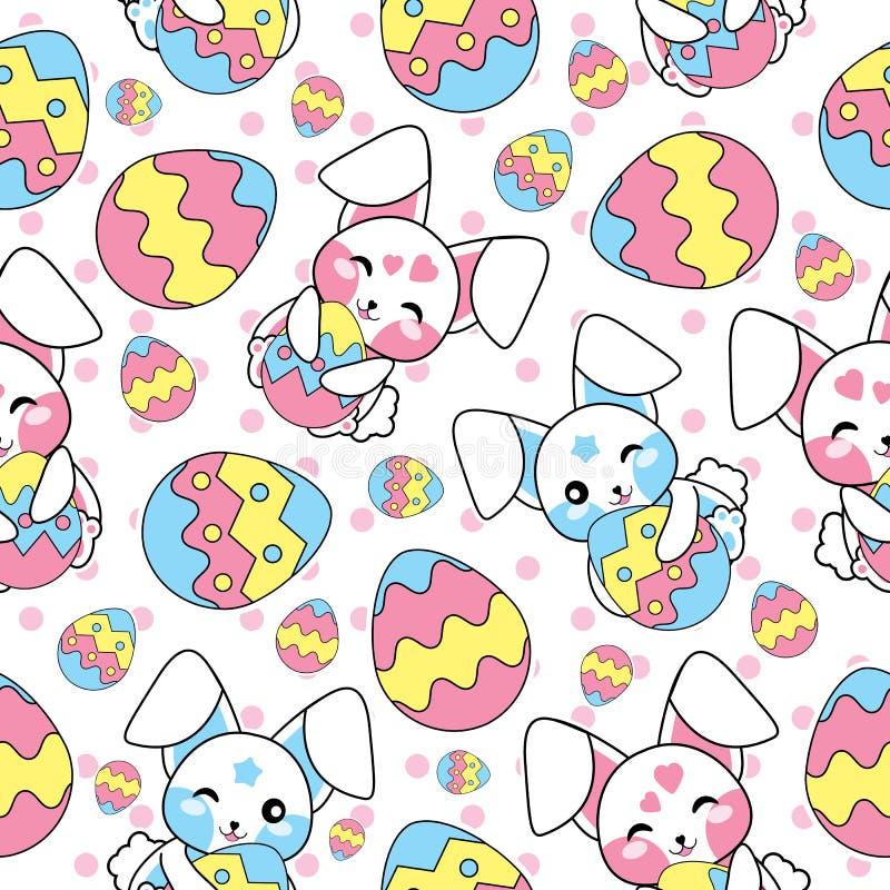 Sömlös modell för påsk med den gulliga kaninen och färgrikt ägg på polkadotbakgrund för ungetapet och restpapper royaltyfri illustrationer