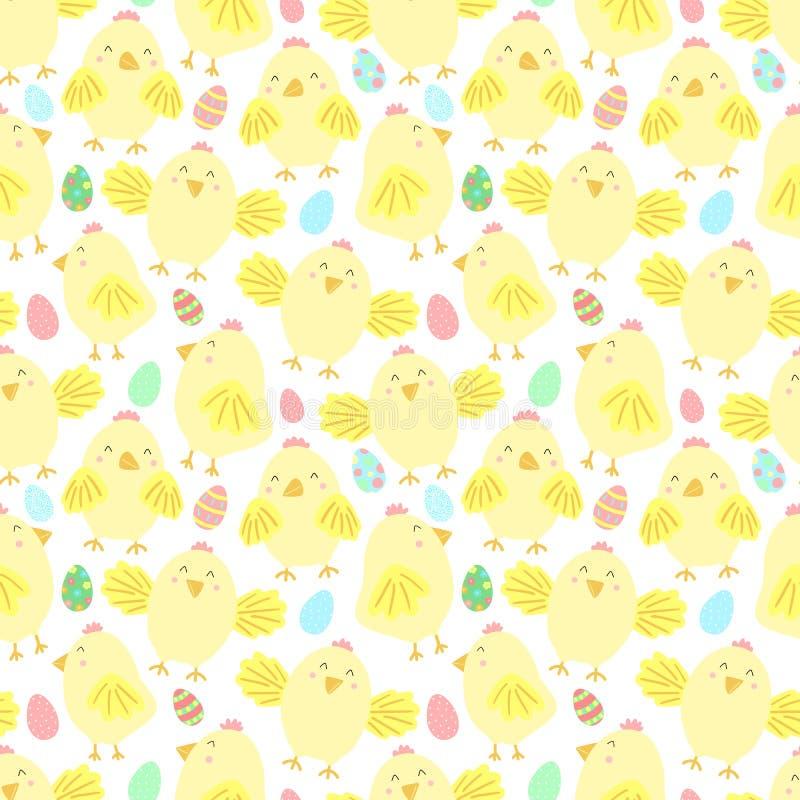 Sömlös modell för påsk med gulliga fågelungar och ägg på en genomskinlig bakgrund Vektor hand-dragen illustration av höna för spr vektor illustrationer