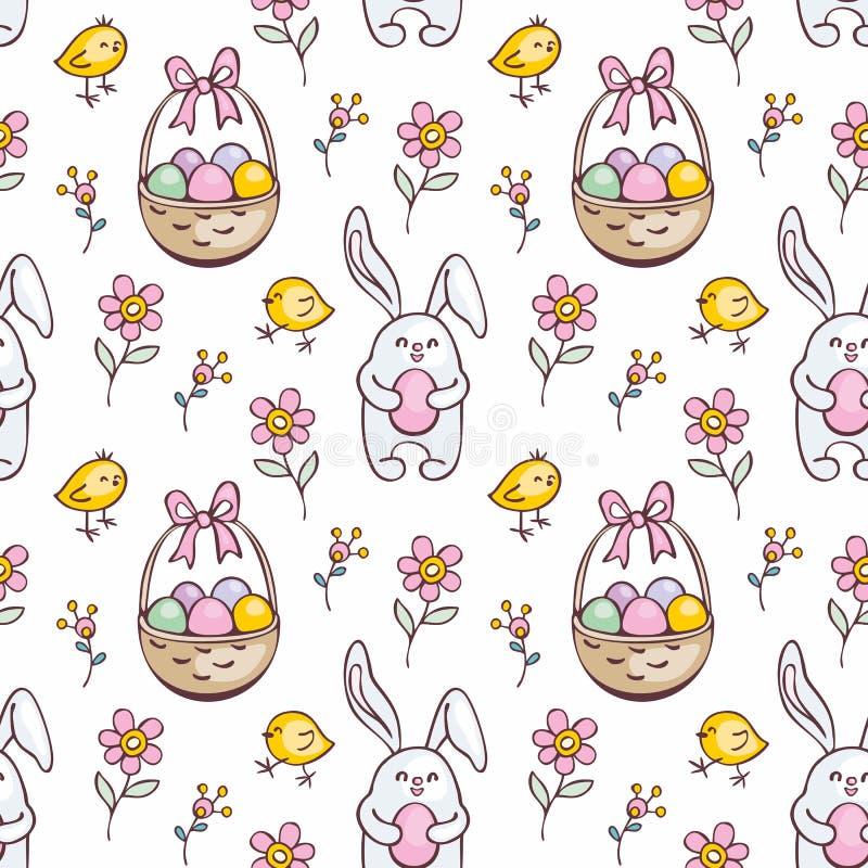 Sömlös modell för påsk med gulliga kaniner stock illustrationer