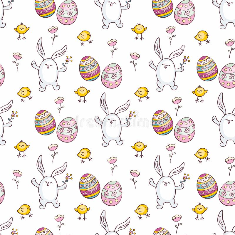 Sömlös modell för påsk med gulliga kaniner royaltyfri illustrationer