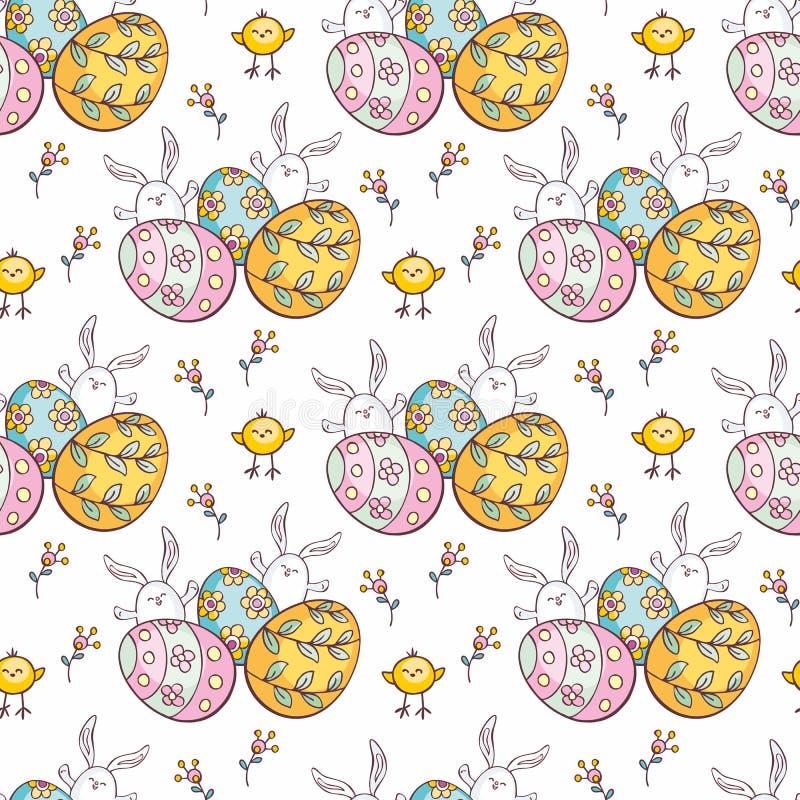 Sömlös modell för påsk med gulliga kaniner vektor illustrationer