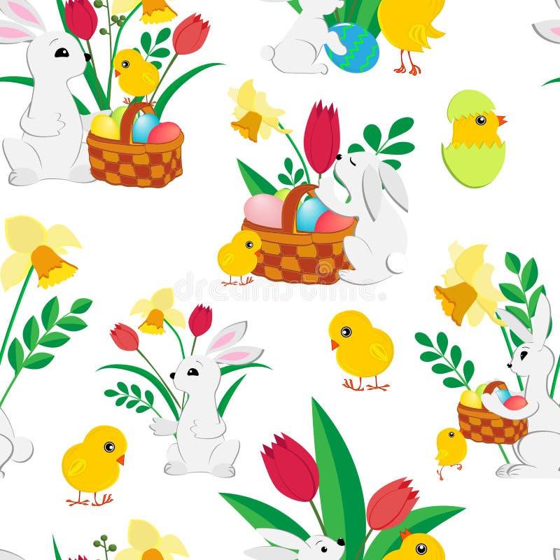 Sömlös modell för påsk med gulliga kaniner, målade ägg i en vide- korg, fluffiga hönor, vårtulpan och påskliljor på a stock illustrationer