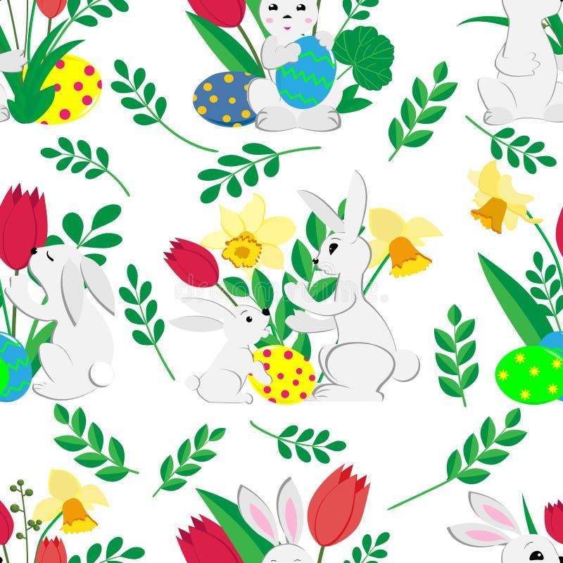 Sömlös modell för påsk med gulliga kaniner, målade ägg och vårtulpan och påskliljor på vit bakgrund stock illustrationer