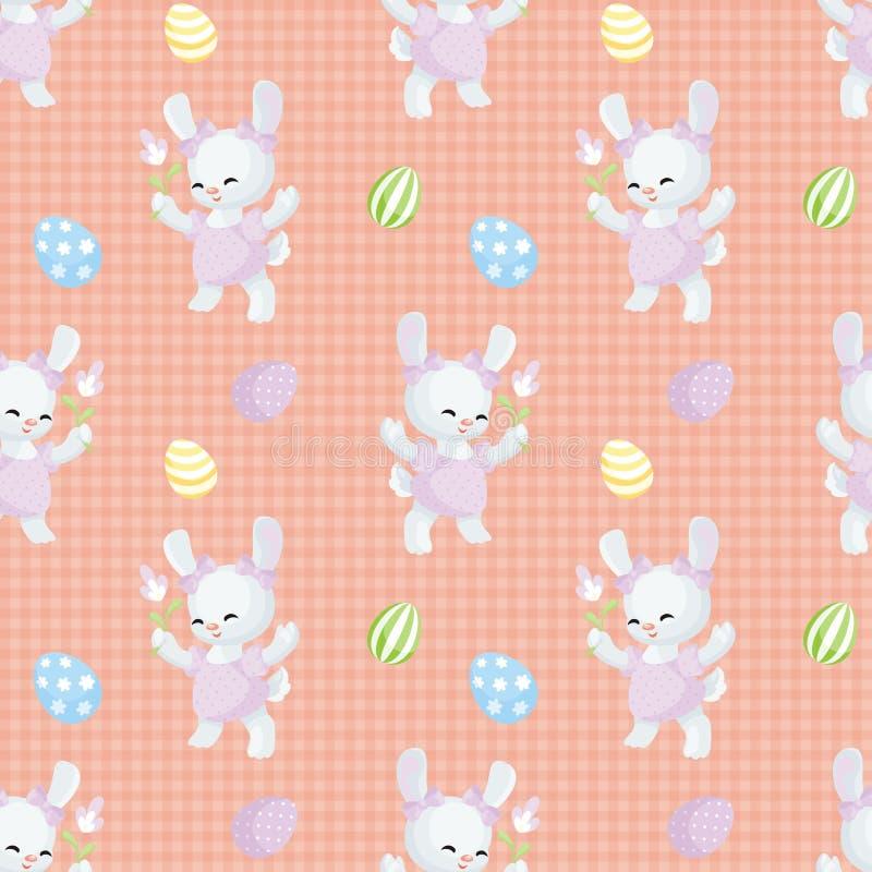 Sömlös modell för påsk med kaniner stock illustrationer