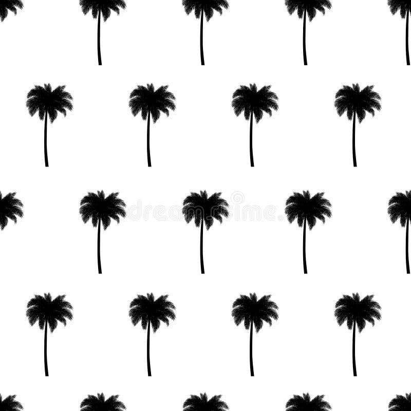 Sömlös modell för palmträd i svarta vita färger royaltyfri illustrationer