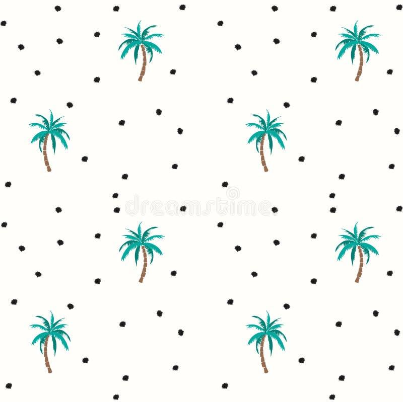 Sömlös modell för palmträd och för kokosnötter med prickar stock illustrationer