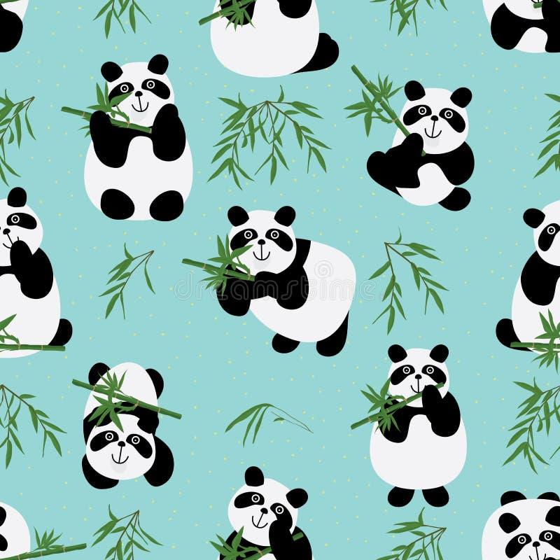 Sömlös modell för pandafamilj stock illustrationer