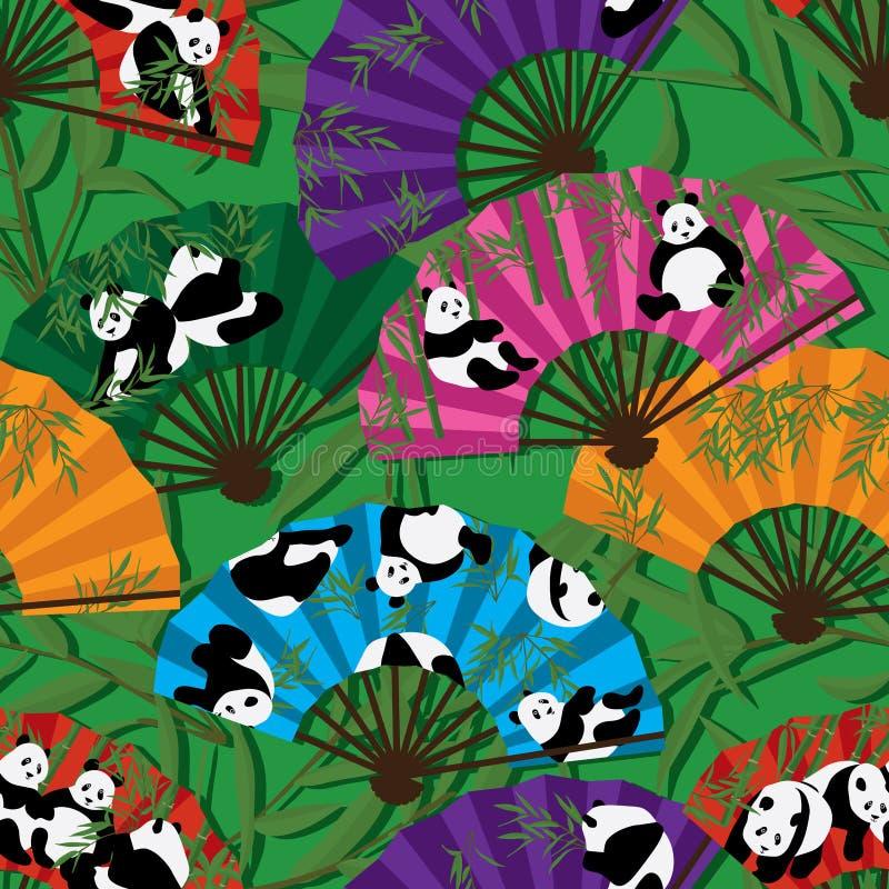 Sömlös modell för pandafan royaltyfri illustrationer