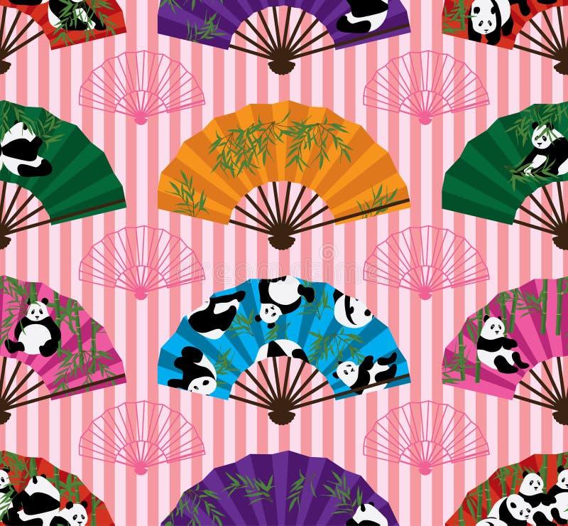 Sömlös modell för pandafansymmetri stock illustrationer