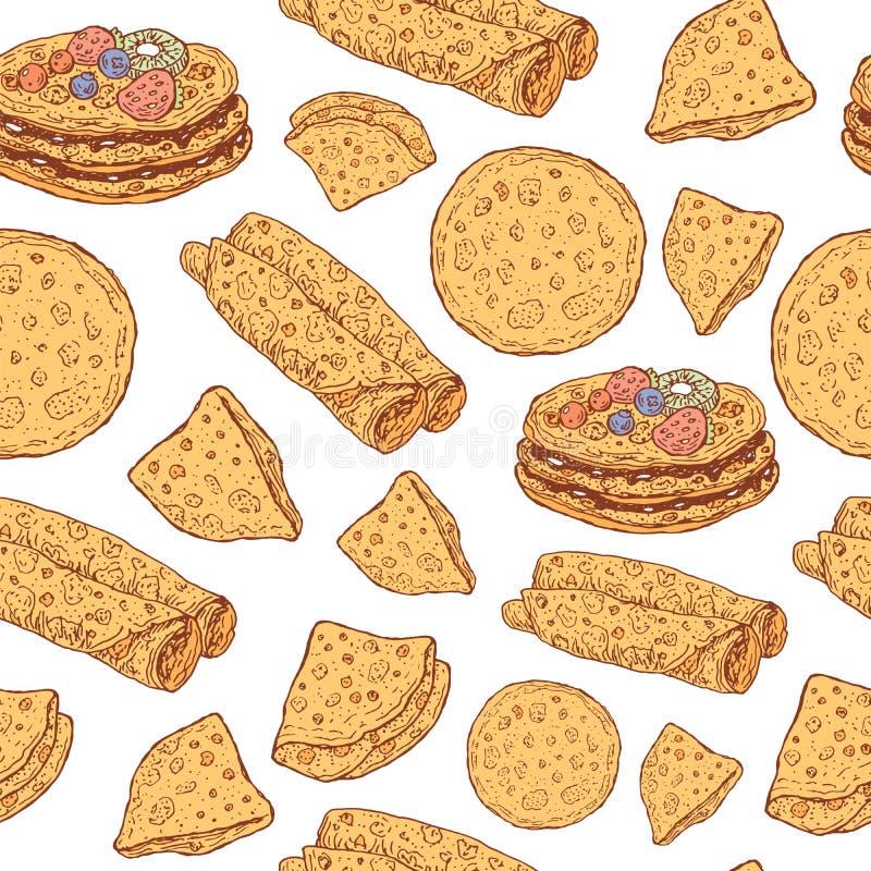 Sömlös modell för pannkakor Klottertecknad filmprydnad för shrovetid vektor illustrationer