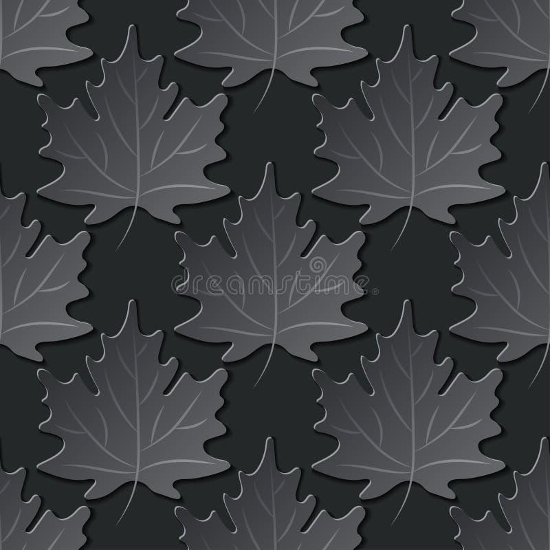 Sömlös modell för pappers- snitt med lönnlöv stock illustrationer