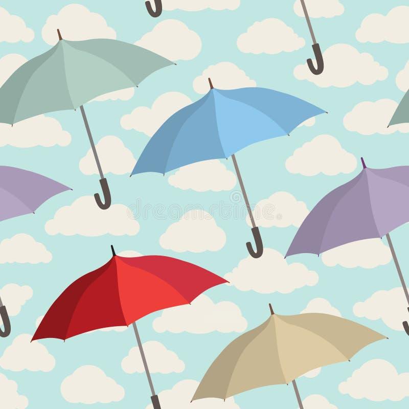 Sömlös modell för paraply Bakgrund för tegelplatta för molnig himmel säsongsbetonad royaltyfri illustrationer