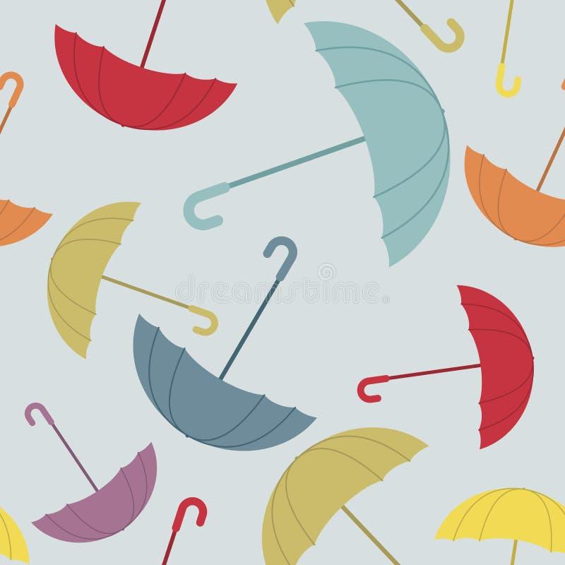 Sömlös modell för paraply Många av färg öppnade paraplyer stock illustrationer