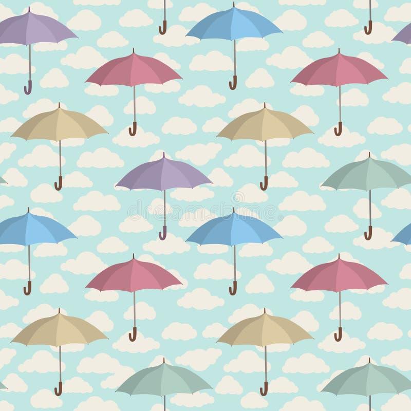 Sömlös modell för paraply Molnig himmel som belägger med tegel modellen Regnig weat stock illustrationer