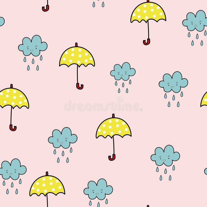 Sömlös modell för paraply och för regnigt moln vektor illustrationer