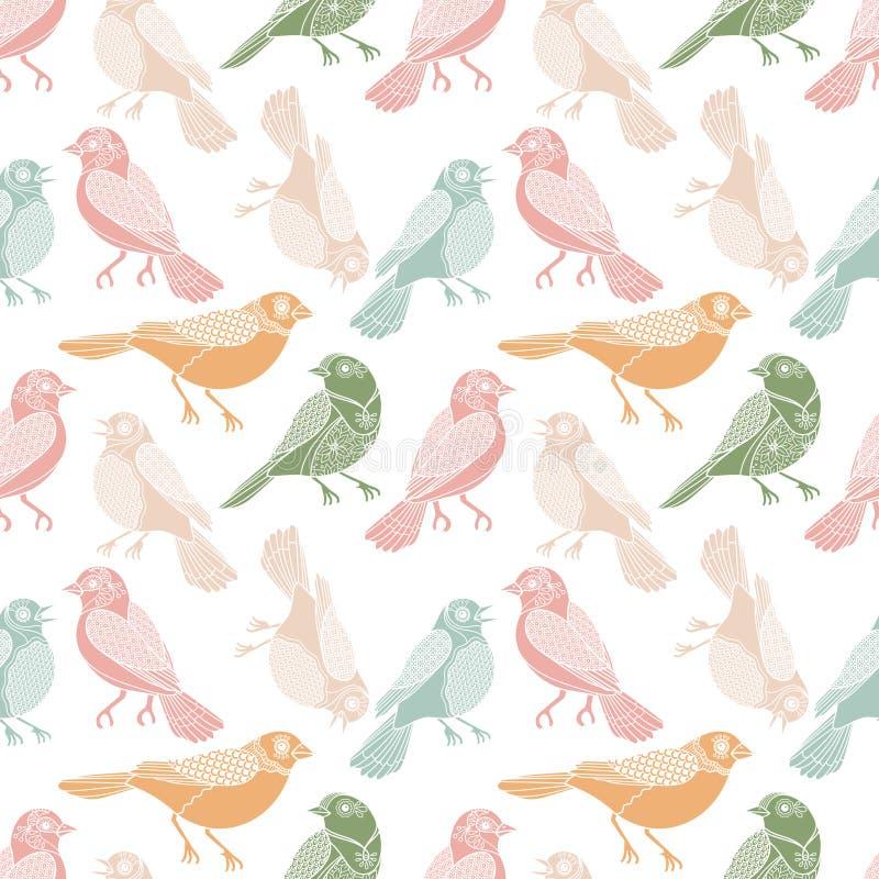 Sömlös modell för pastellfärgade fåglar i vattenfärglägenhetstil vektor illustrationer