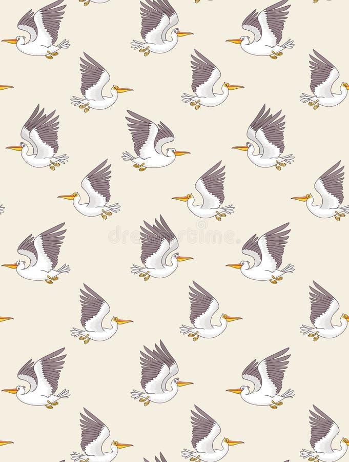Sömlös modell för pelikan royaltyfri illustrationer