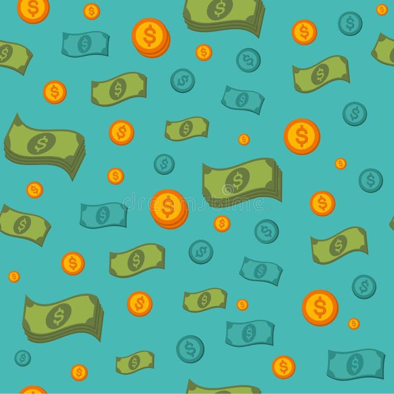 Sömlös modell för pengar med mynt och sedlar vektor illustrationer