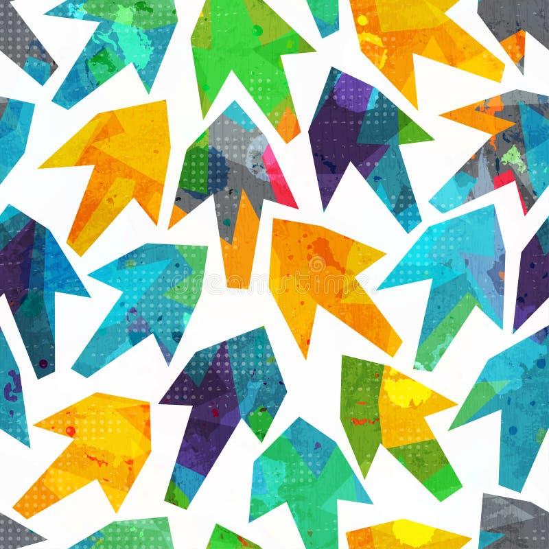 Sömlös modell för pilar med grungeeffekt stock illustrationer