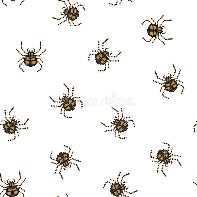 Sömlös modell för PIXEL med spindeln för 8 bit ocks? vektor f?r coreldrawillustration royaltyfri illustrationer