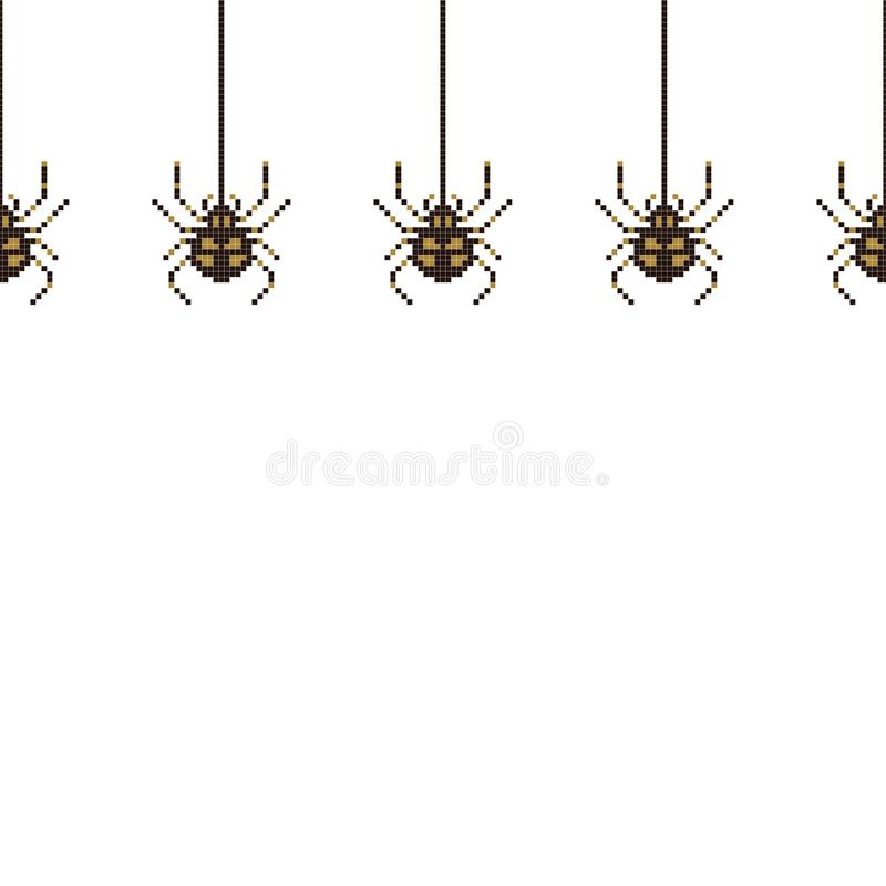 Sömlös modell för PIXEL med spindeln för 8 bit ocks? vektor f?r coreldrawillustration vektor illustrationer