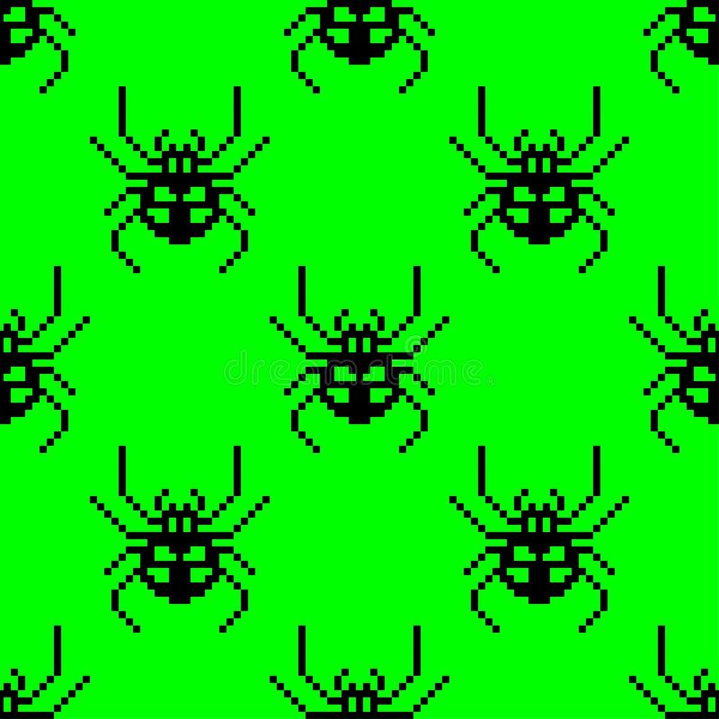Sömlös modell för PIXEL med spindeln för 8 bit ocks? vektor f?r coreldrawillustration stock illustrationer
