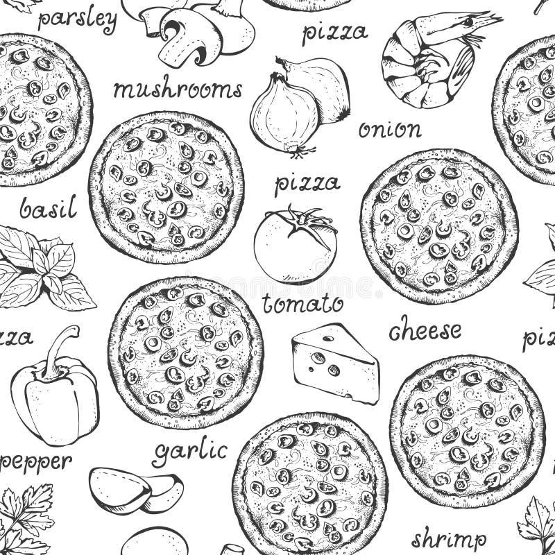 Sömlös modell för pizzaingrediensvektor royaltyfri illustrationer