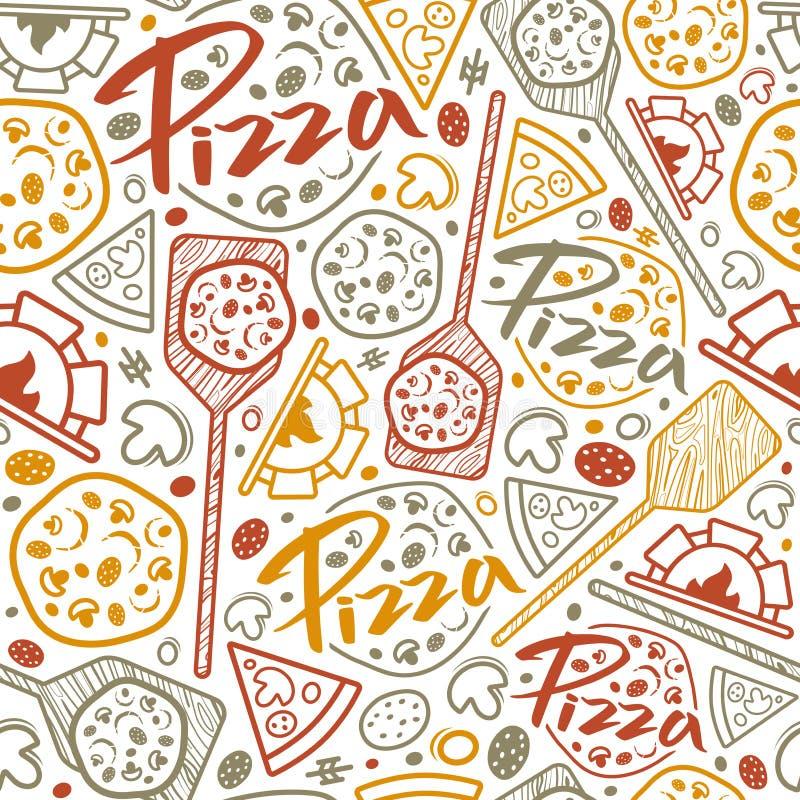 Sömlös modell för pizzeria vektor illustrationer