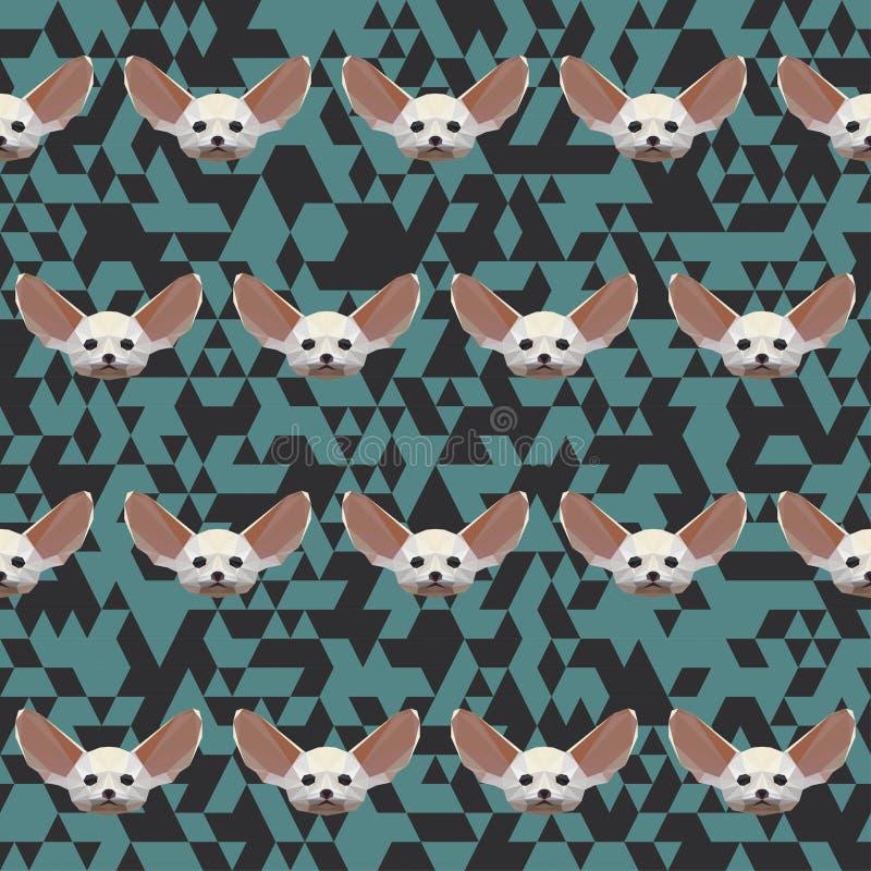 Sömlös modell för Polygonal Fennec räv stock illustrationer