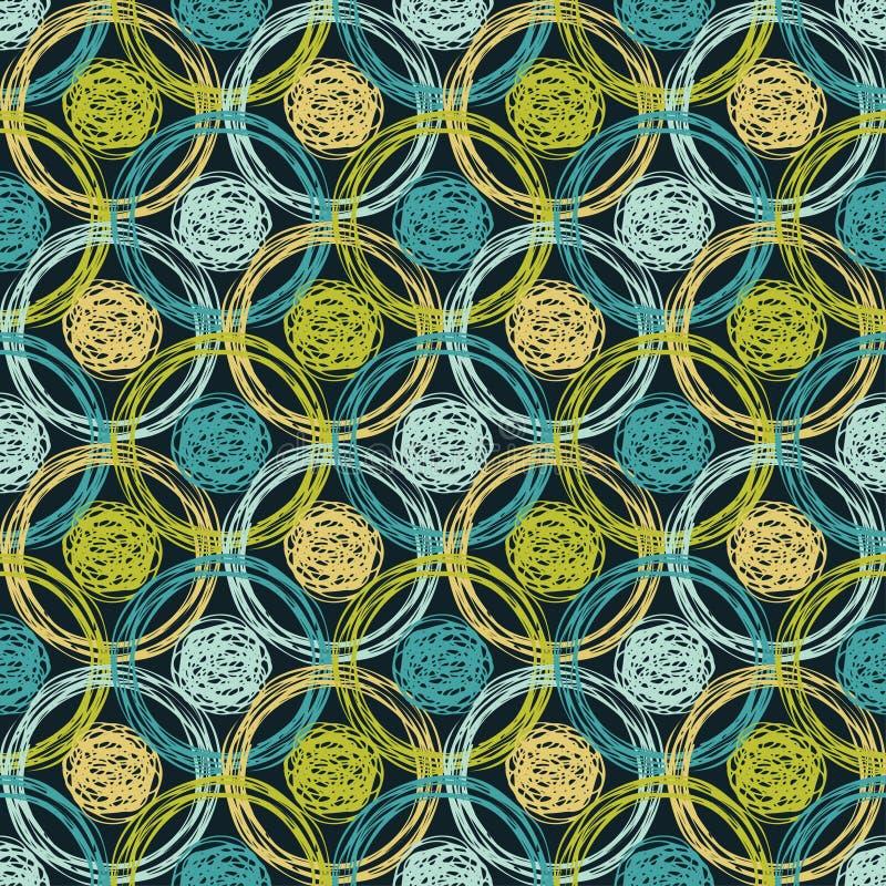 Sömlös modell för prick geometrisk bakgrund borsten Kläcka för hand Klottra textur royaltyfri illustrationer