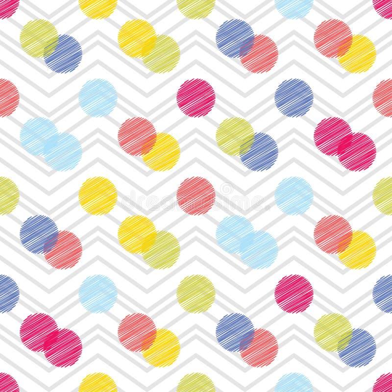 Sömlös modell för prick geometrisk bakgrund De färgrika bollarna Klottra textur royaltyfri illustrationer
