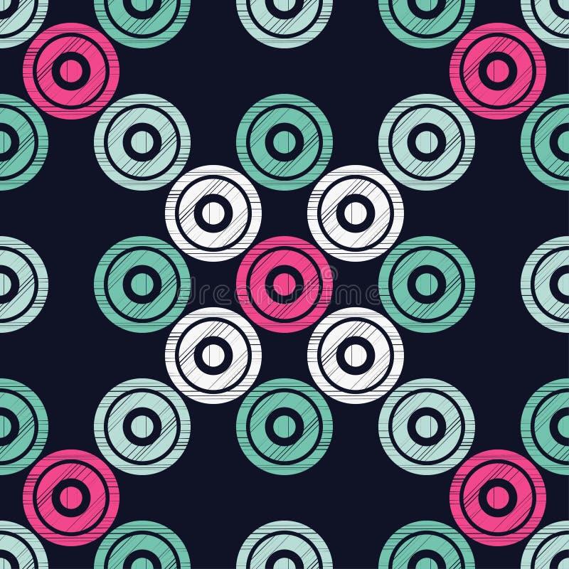 Sömlös modell för prick geometrisk bakgrund Prickar cirklar och knäppas vektor illustrationer