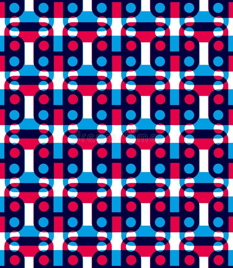 Sömlös modell för prick med geometriska diagram, färgrik infi stock illustrationer