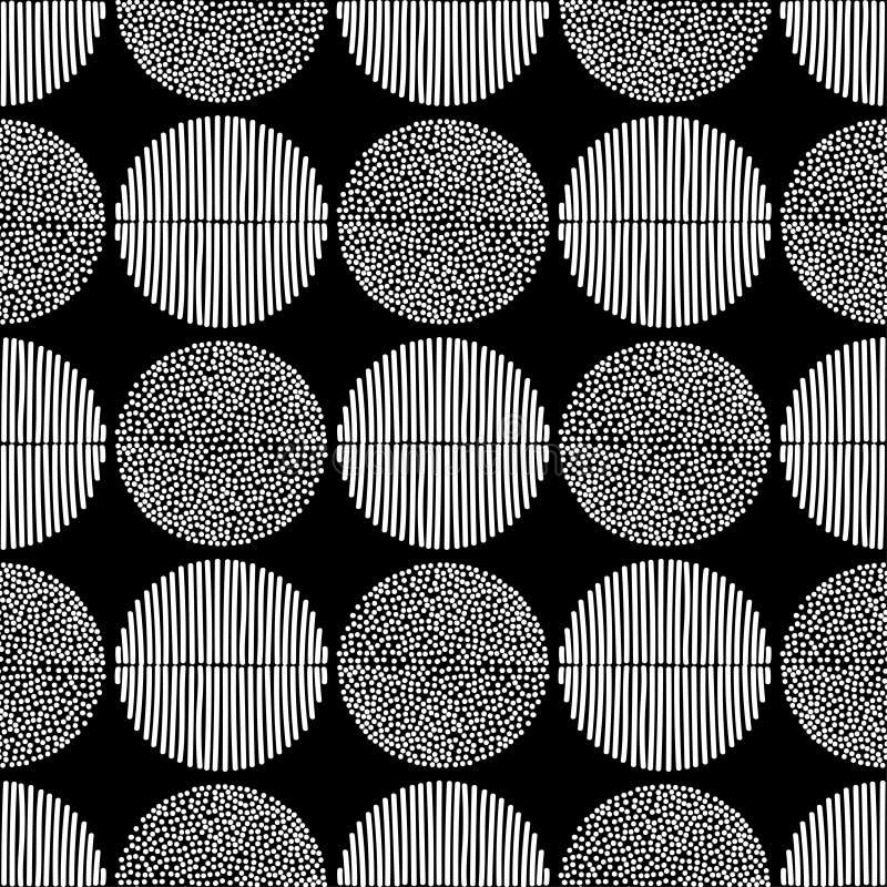 Sömlös modell för prick Prickar och bandtextur vektor illustrationer