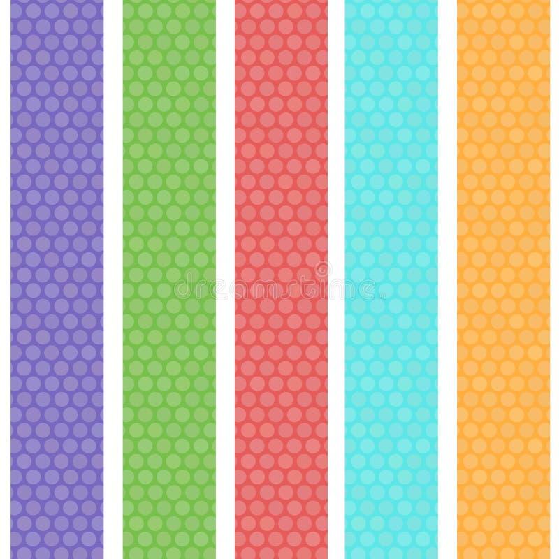 Sömlös modell för prickbakgrund med gröna orange rosa lila blåa band vektor royaltyfri illustrationer