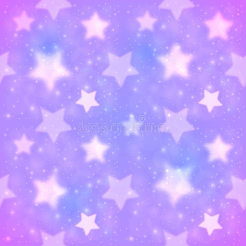 Sömlös modell för purpurfärgad suddig stjärnavektor stock illustrationer