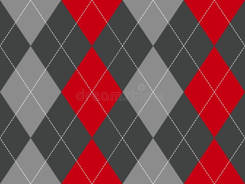 Sömlös modell för röd grå argyletygtextur royaltyfri illustrationer