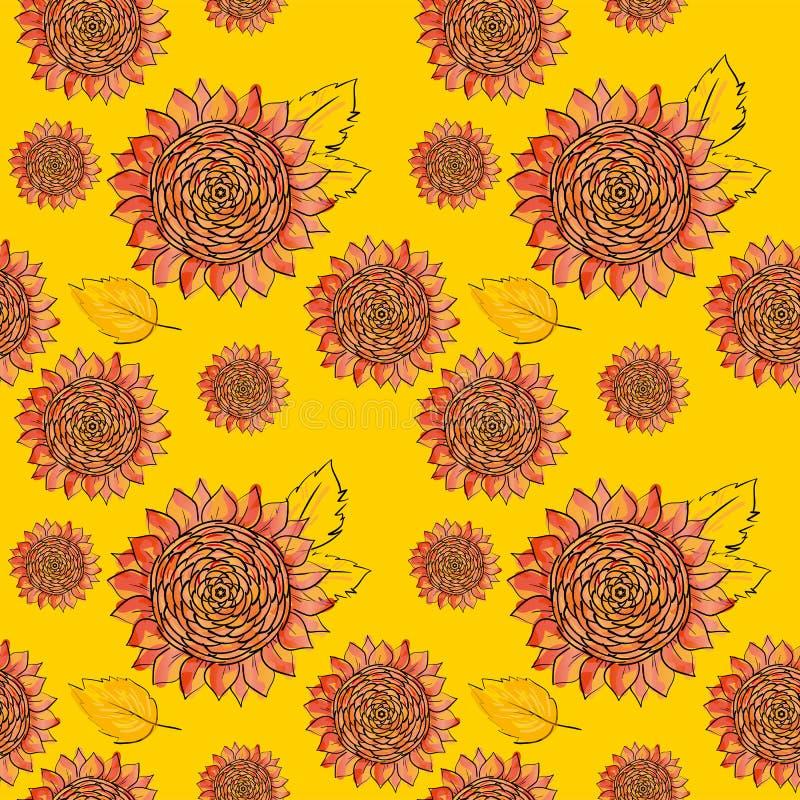 Sömlös modell för röd solrosvektor med sidor och att imitera färgpulver och vattenfärgen på gul bakgrund Hand-drog blommahuvud royaltyfri illustrationer