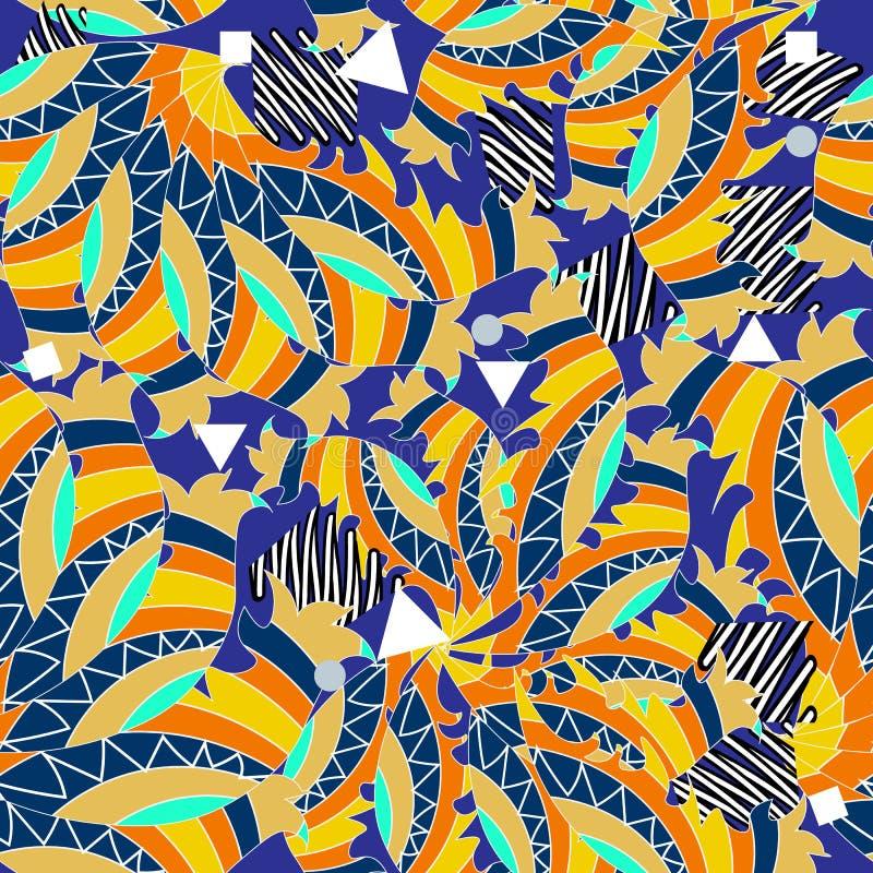 Sömlös modell för randig färgrik etnisk vektor Dragen prydnad för klotter hand Sicksacklinjer, geometriska former, fyrkanter, cir stock illustrationer