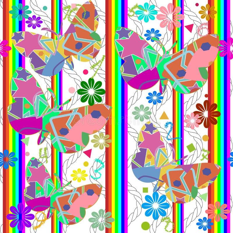 Sömlös modell för randig färgrik geometrisk vektor Blom- ornam vektor illustrationer