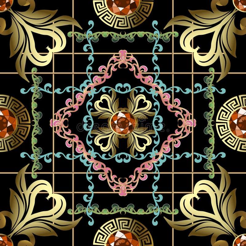 Sömlös modell för randig för stilgrek för tappning barock vektor Dekorativ geometrisk bakgrund för smycken Blom- bakgrund f?r rep stock illustrationer