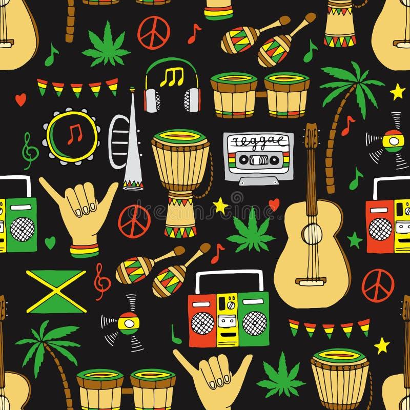 Sömlös modell för Reggae vektor illustrationer
