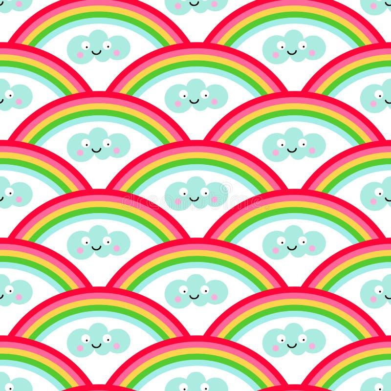 Sömlös modell för regnbåge- och kawaiistil stock illustrationer