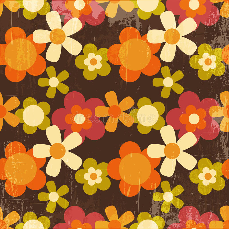 Sömlös modell för Retro blomma för stil färgrik royaltyfri illustrationer