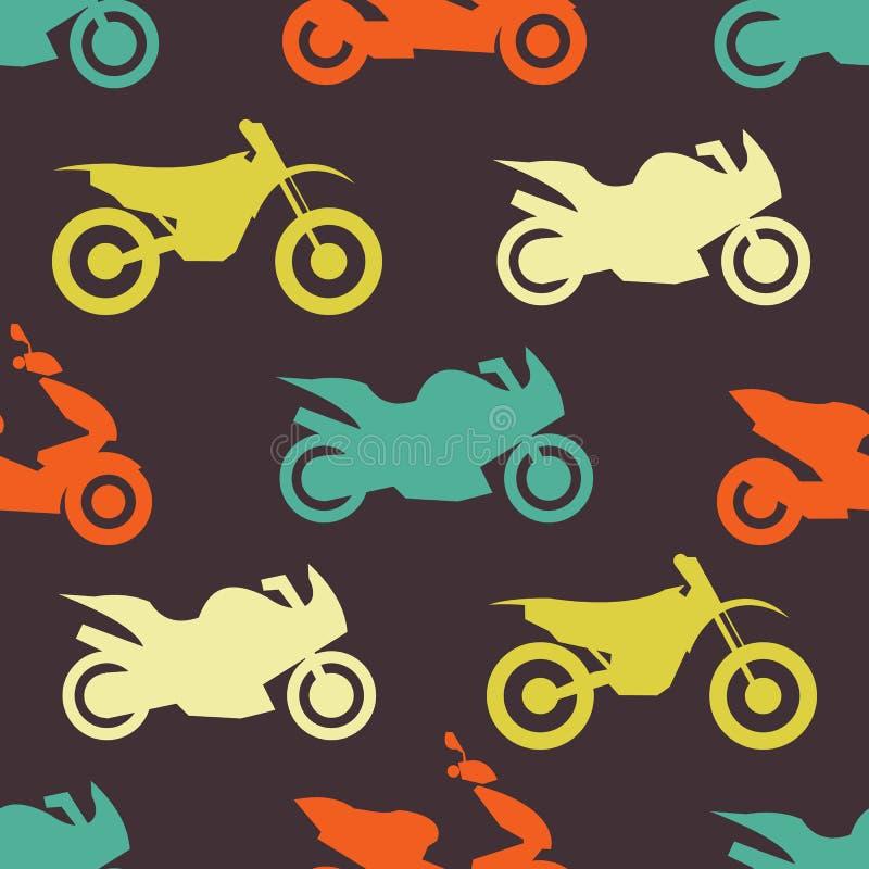 Sömlös modell för Retro motorcykel stock illustrationer