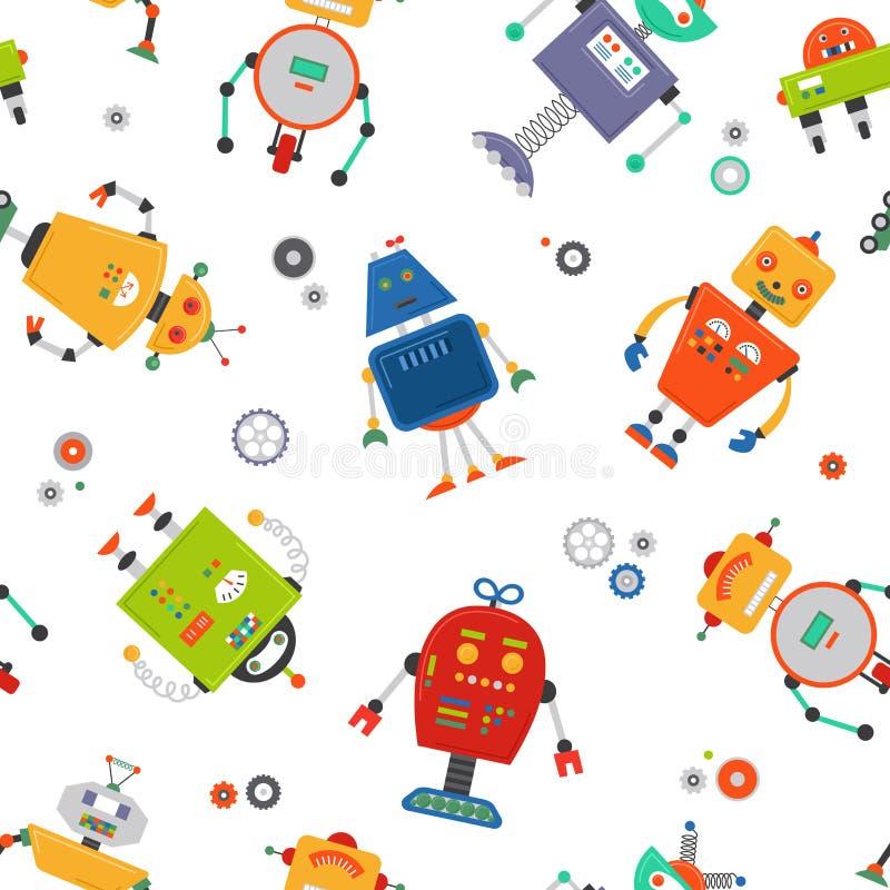 Sömlös modell för robotar Barnrobobakgrund Gullig ungemodell för färg stock illustrationer