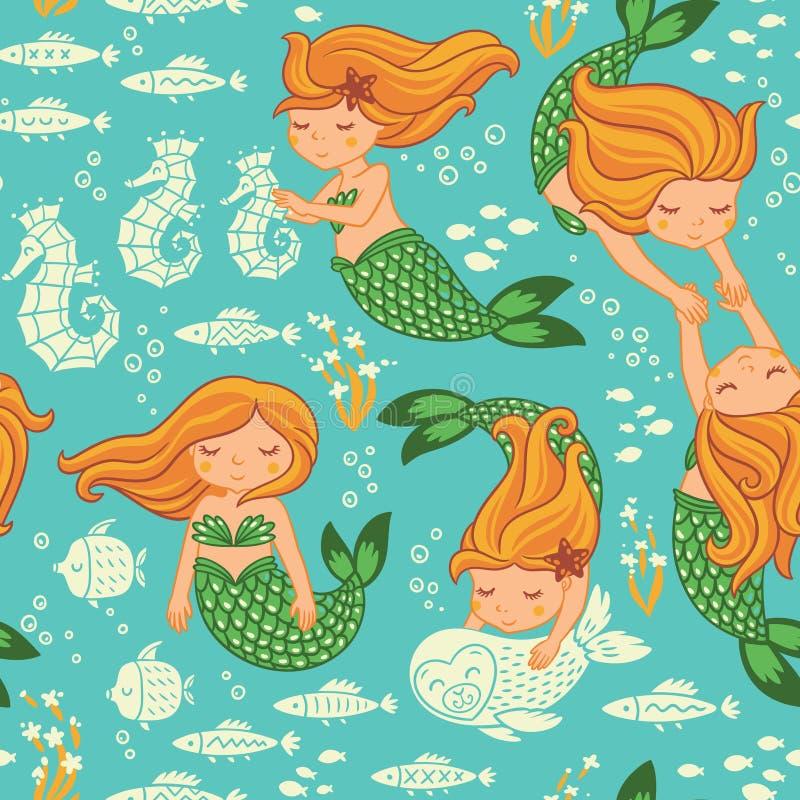 Sömlös modell för rolig färg med sjöjungfruar royaltyfri illustrationer