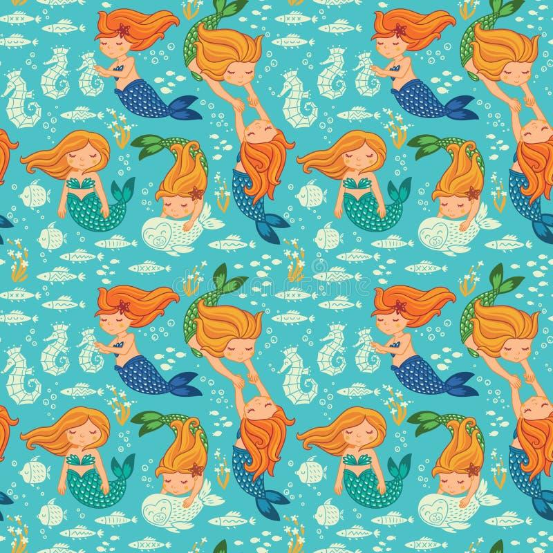 Sömlös modell för rolig färg med sjöjungfruar stock illustrationer