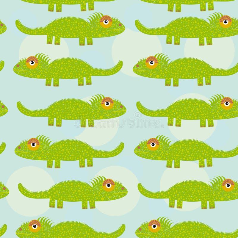 Sömlös modell för rolig grön leguan med det gulliga djuret på en blått b vektor illustrationer