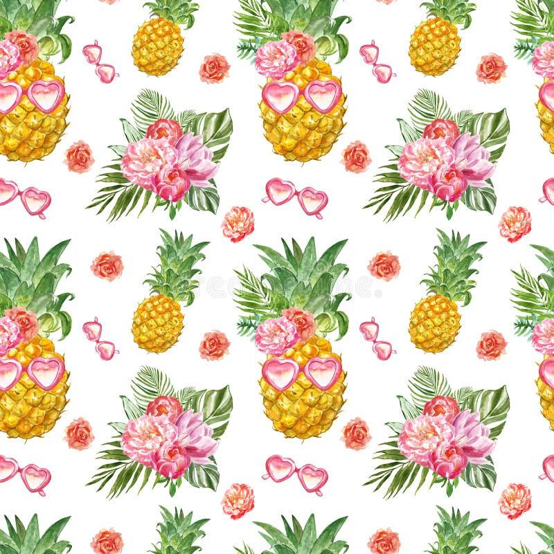 Sömlös modell för rolig sommar med ny ananas i solglasögon och tropiska växter på vit bakgrund Gulligt hawaianskt tryck royaltyfri illustrationer